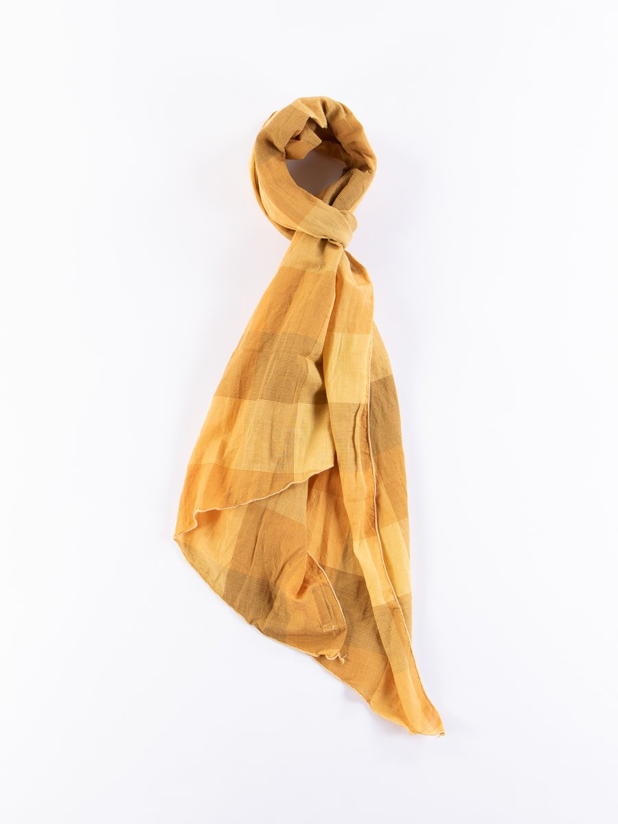 Gold Block Check CL Lawn Long Scarf