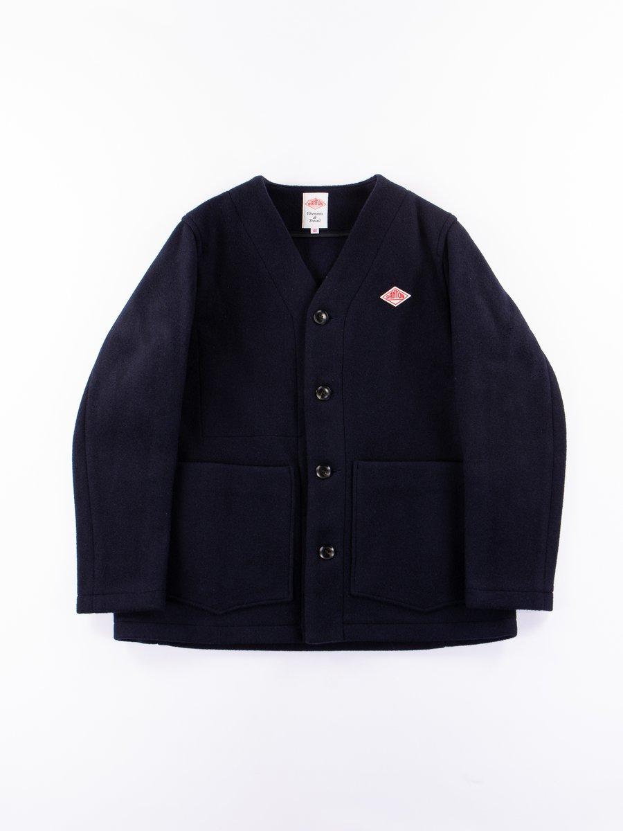 Navy Wool Mossa No Collar Jacket