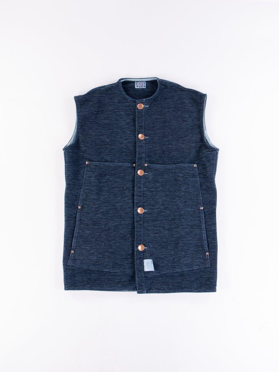 Indigo Cotton Molleton Janus Vest