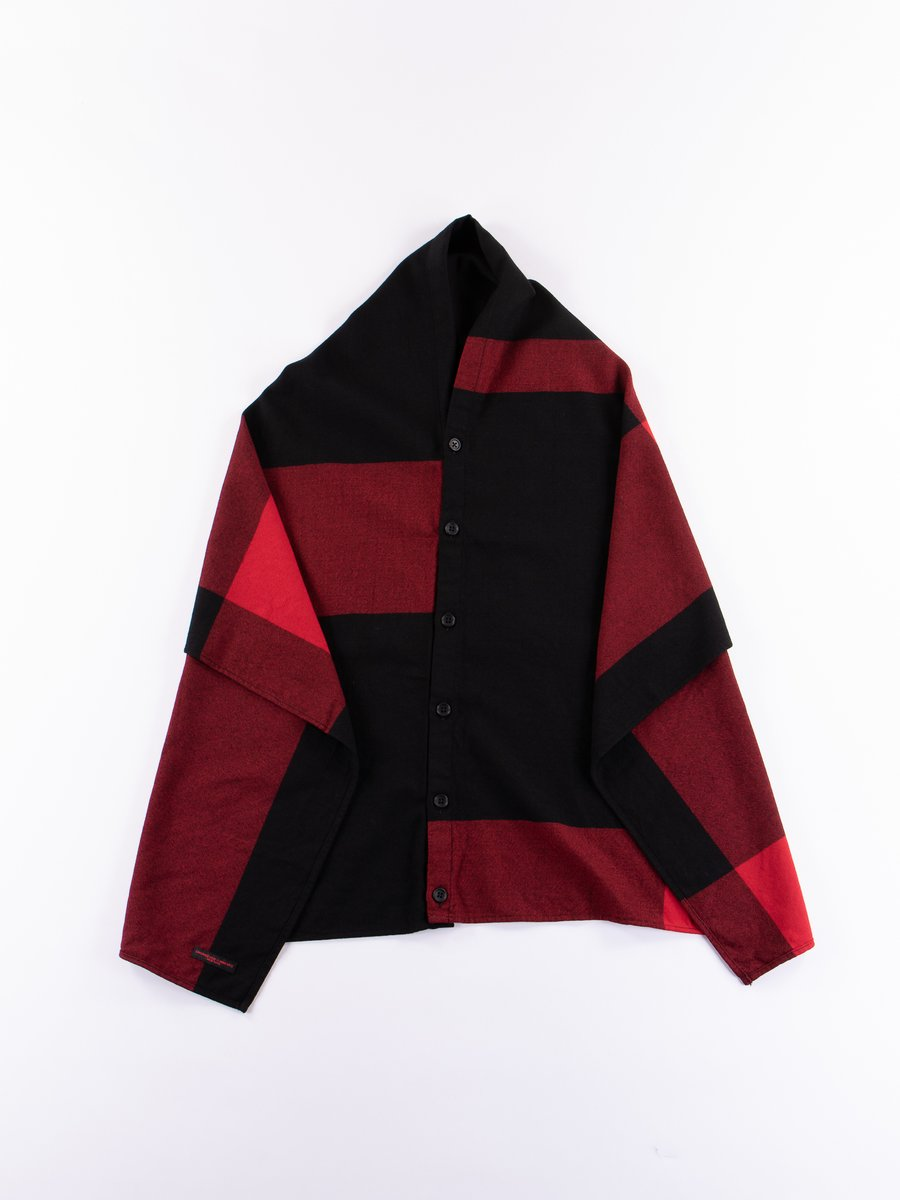 Black/Red Big Plaid Worsted Wool Flannel Button Shawl