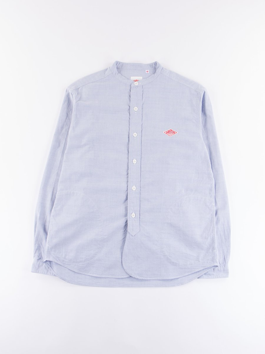 Blue Oxford Banded Collar Shirt