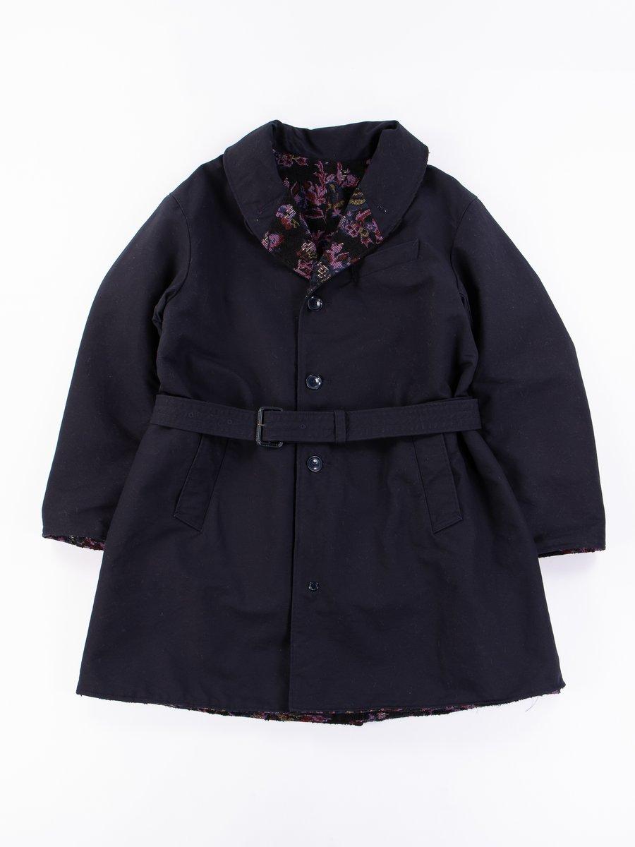 Navy Cotton Double Cloth Shawl Collar Reversible Coat