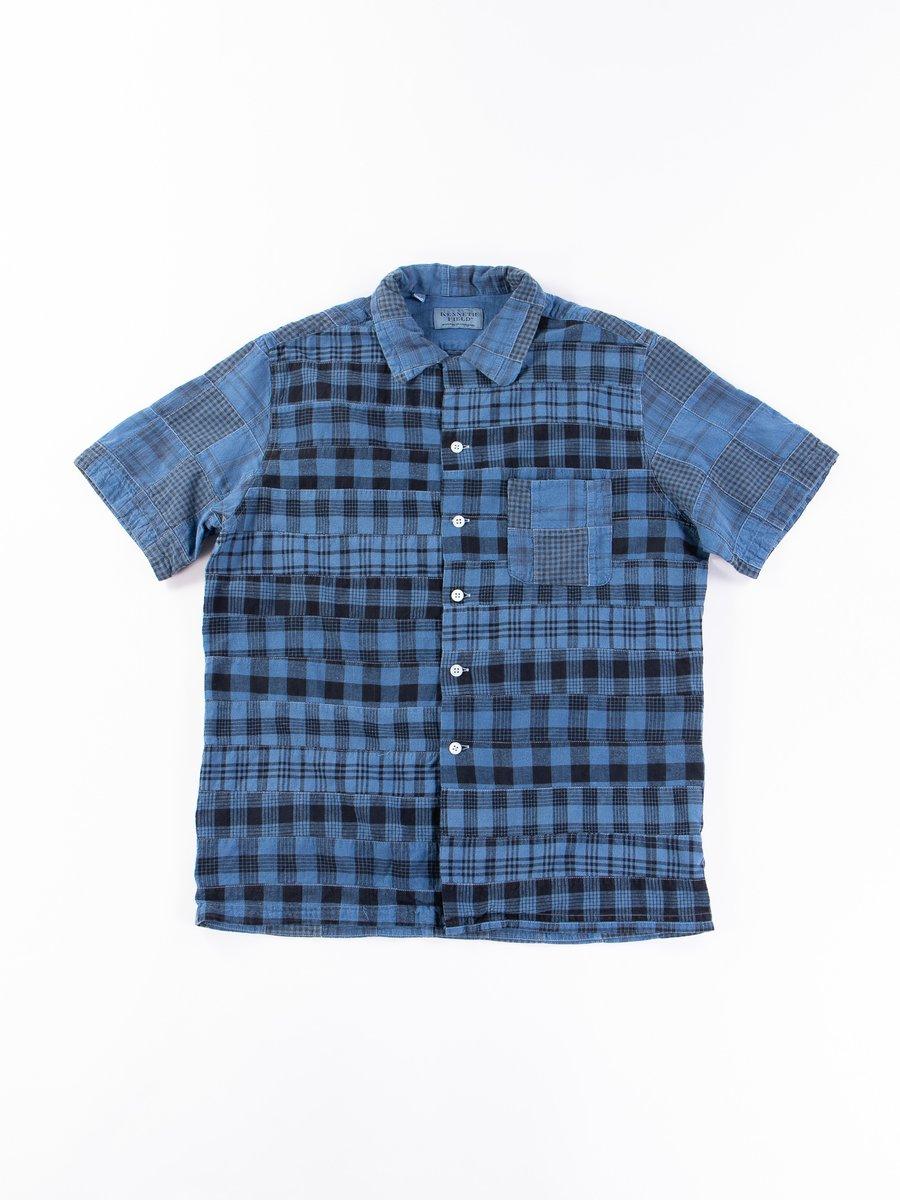 Indigo Overdyed Indian Patchwork Short Sleeve Shirt Exclusive