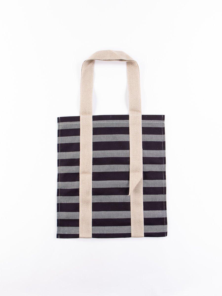 Bold Indigo Weaver's Blanket Stripe One–Strap Tote Bag