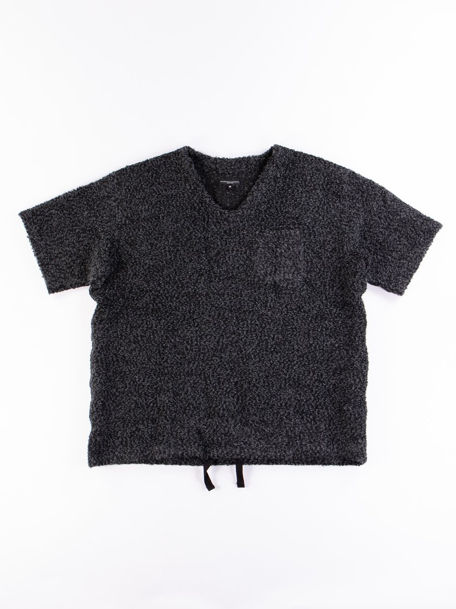 Charcoal Poly Acrylic Curly Knit U Neck Popover