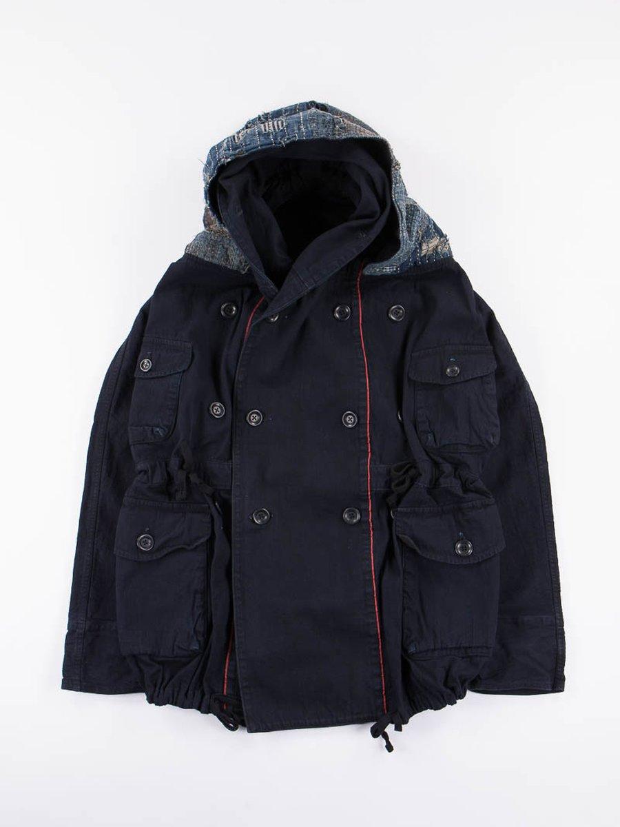 Indigo Yori Heat Twill Boro Ring Coat