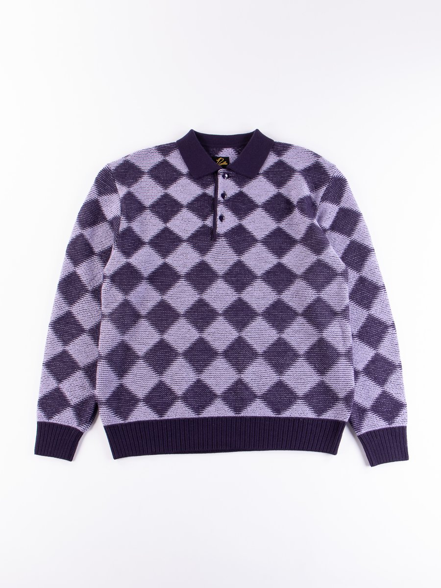 Purple Checkered Polo Sweater