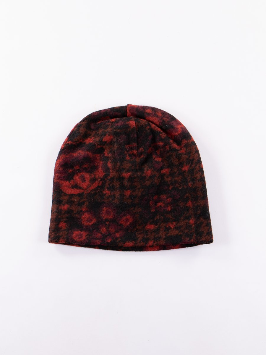 Black/Red/Grey Floral Glen Knit Long Beanie