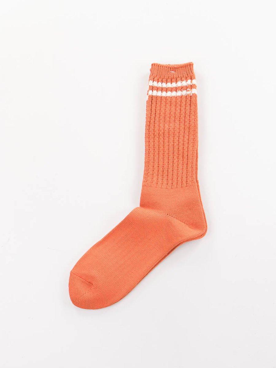 Orange 2 Stripe Crew Socks