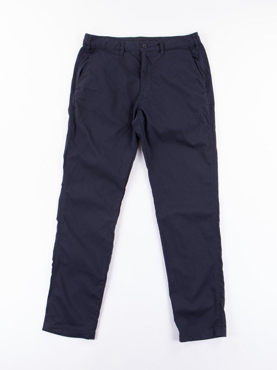 Navy Poly Slim Pant