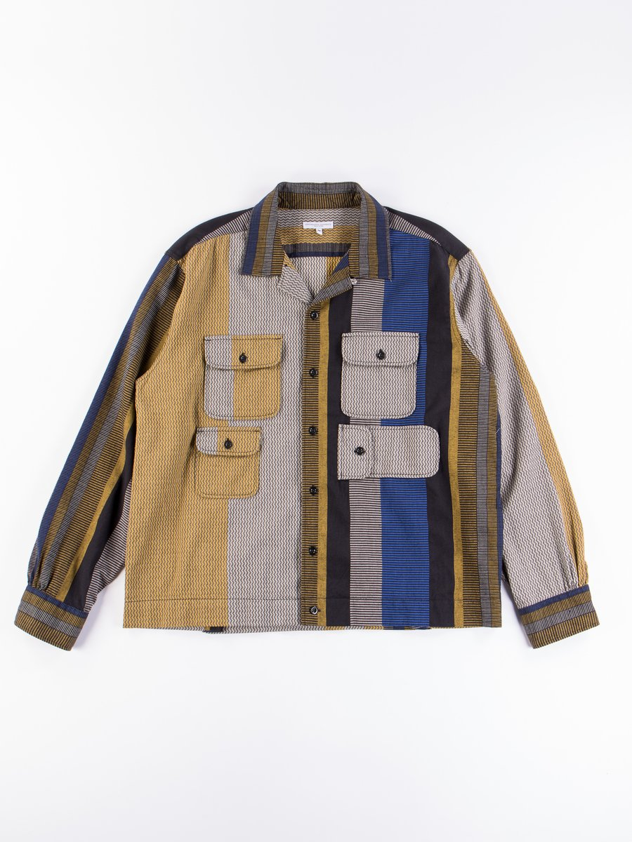 Yellow/Grey Cotton Zig Zag Dobby Stripe Bowling Shirt