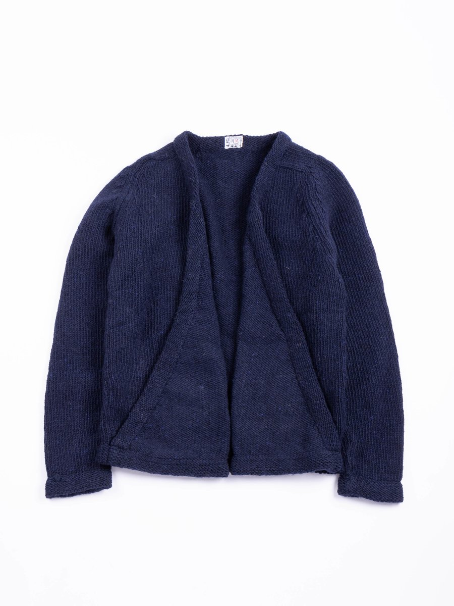 TYPE 738 PURL EDGE FOLDED FRONT CARDIGAN NAVY DONEGAL WOOL