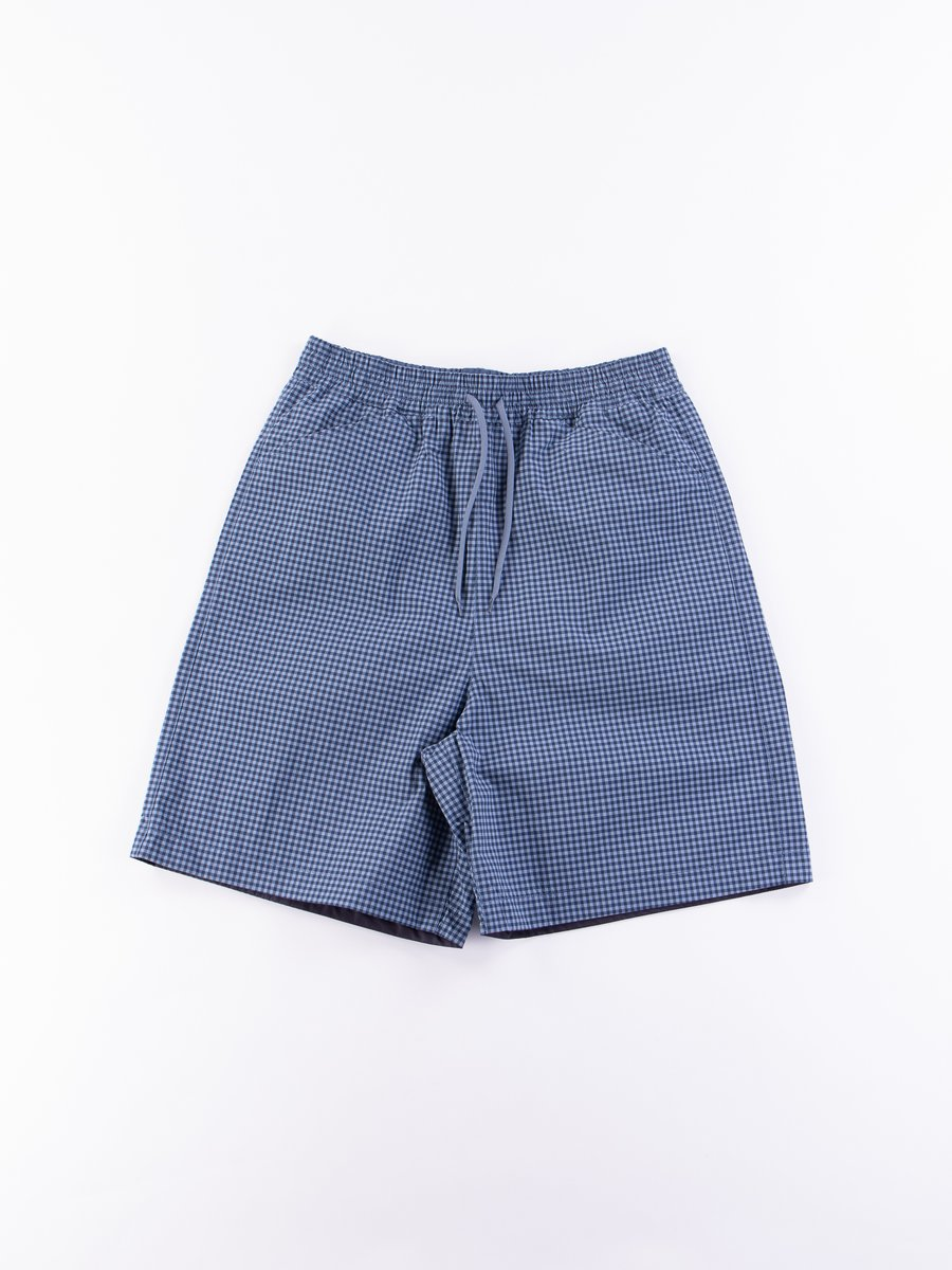 Blue Gingham Reversible Deck Shorts