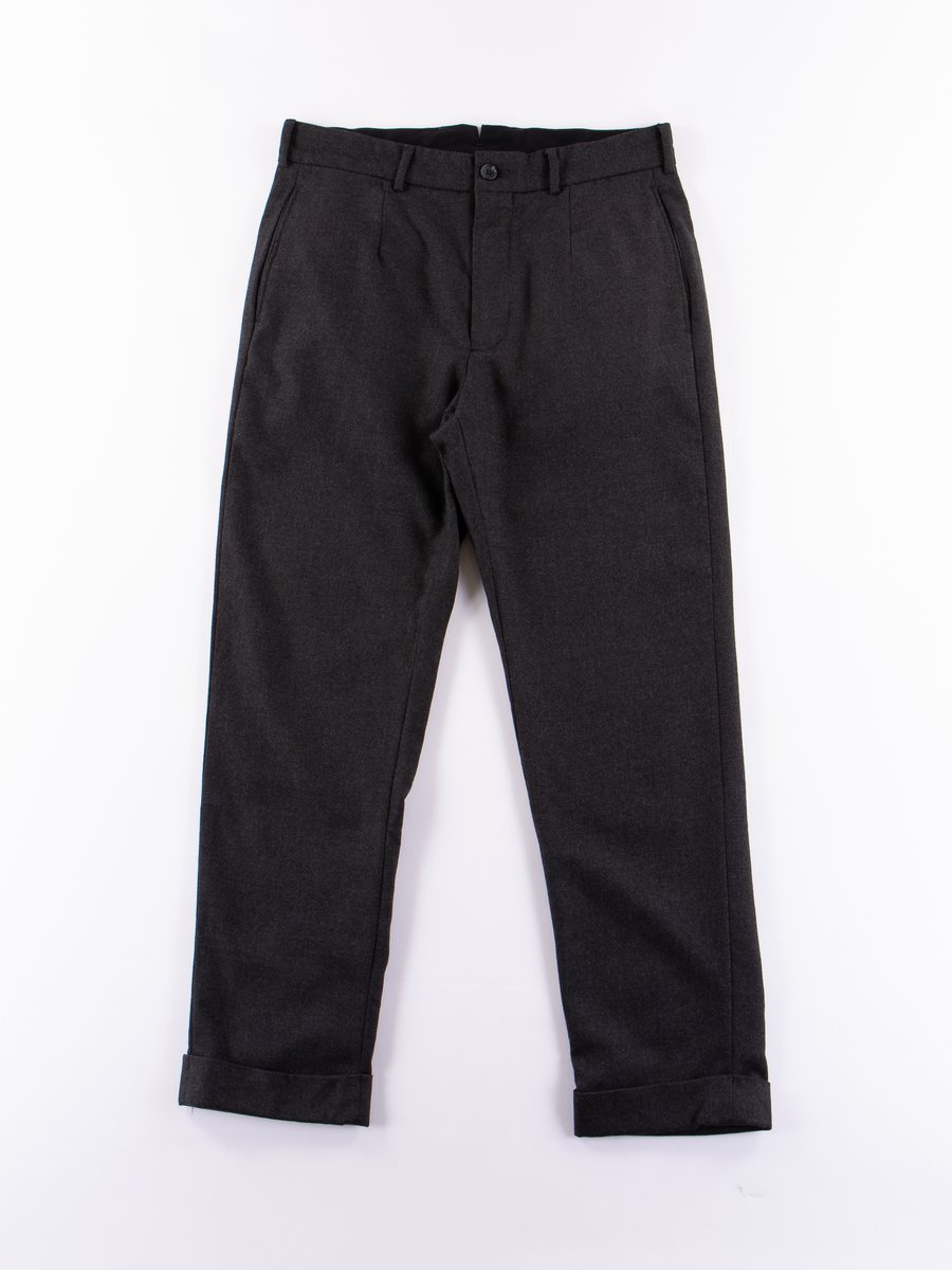 Charcoal Heather Worsted Wool Flannel Andover Pant
