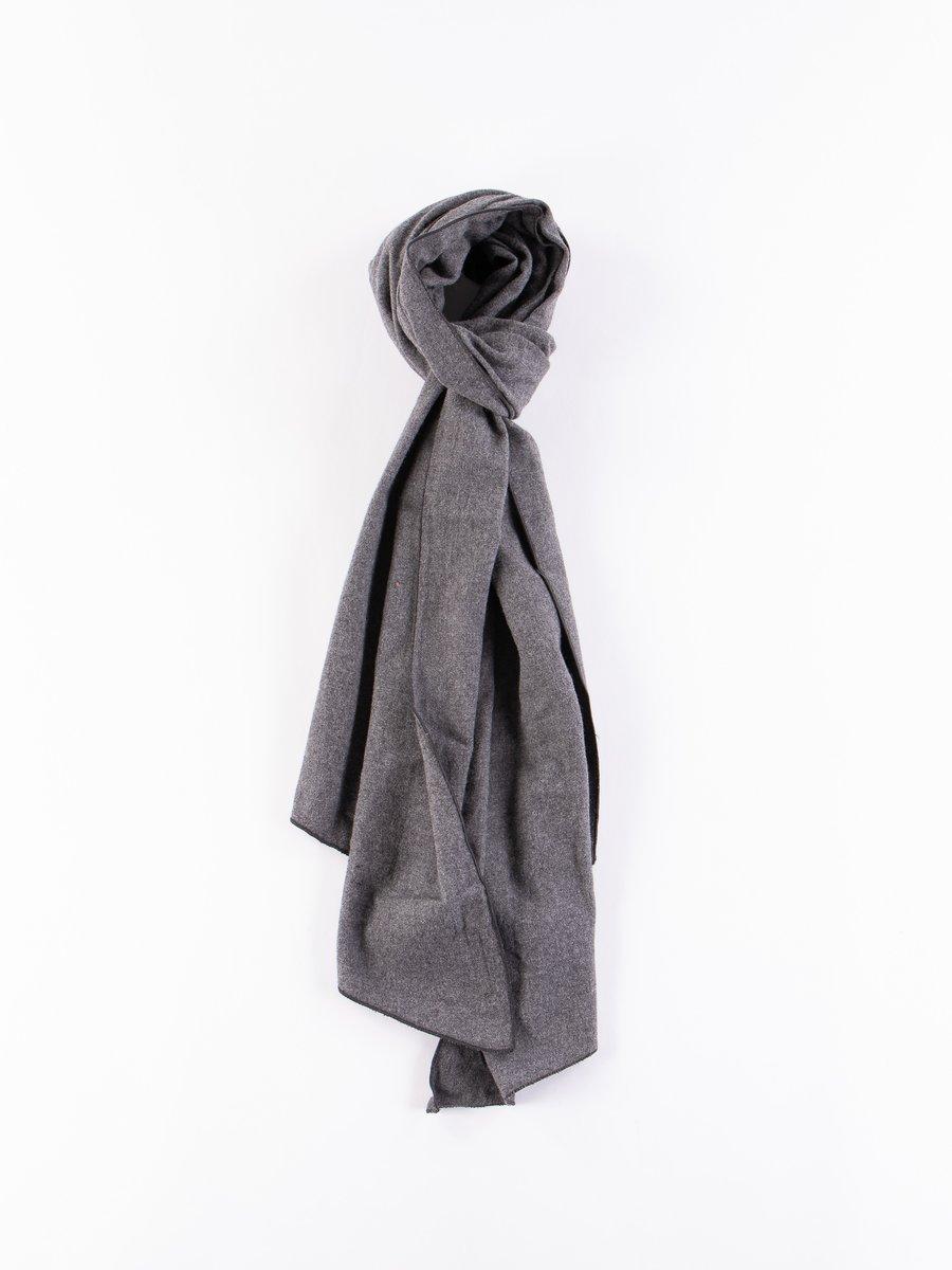 Dark Grey Brushed Cotton Long Scarf