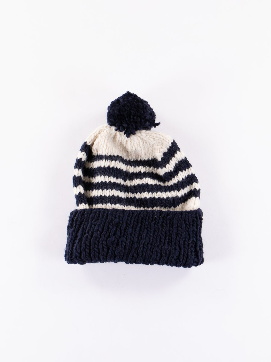 Dark Navy/Ivory Double Cuff Stripe Cap