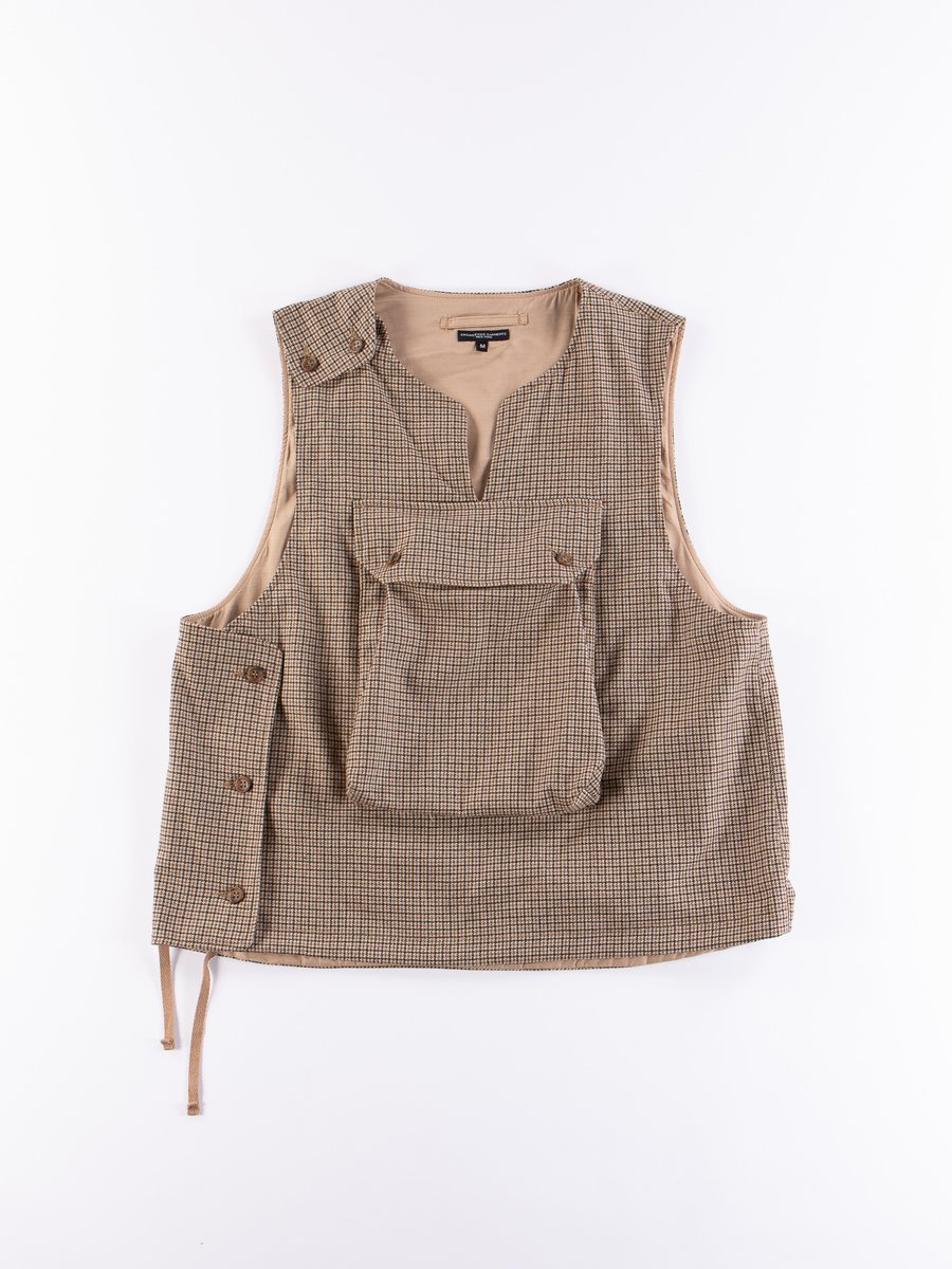 Brown Wool Poly Gunclub Check Cover Vest
