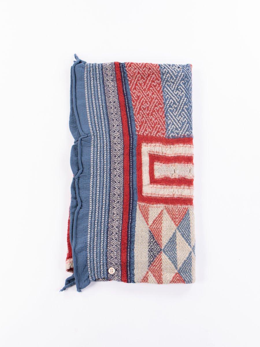 Red Tweed Kogin Cross Compressed Wool Scarf