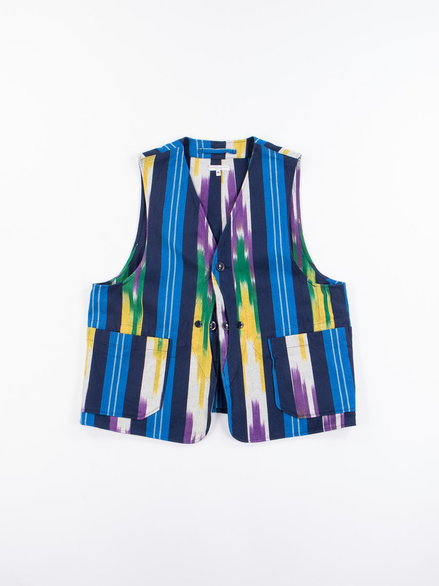Blue/Green/Yellow Cotton Ikat Upland Vest