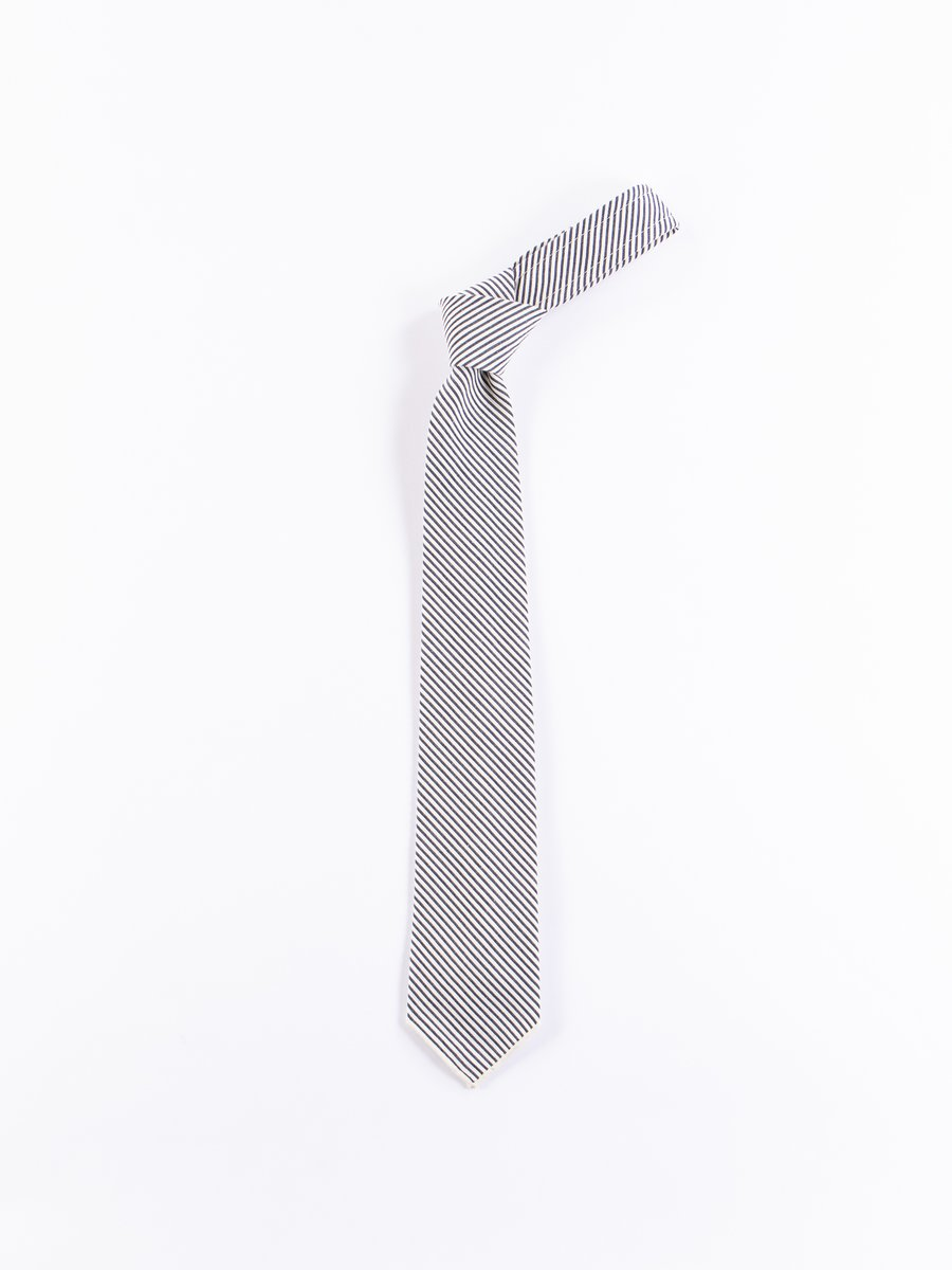 Navy Seersucker Stripe Neck Tie