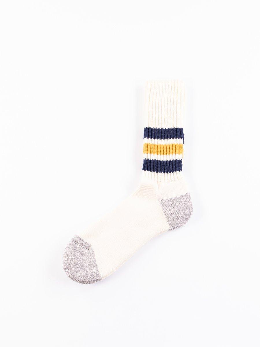 Navy/Yellow Coarse Ribbed Oldschool Socks