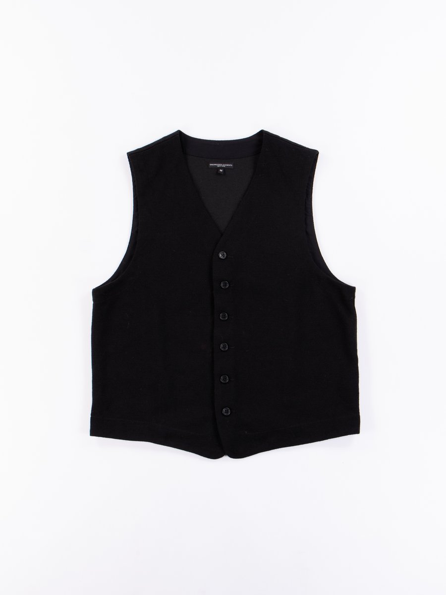 Black Poly Wool Jersey Knit Vest