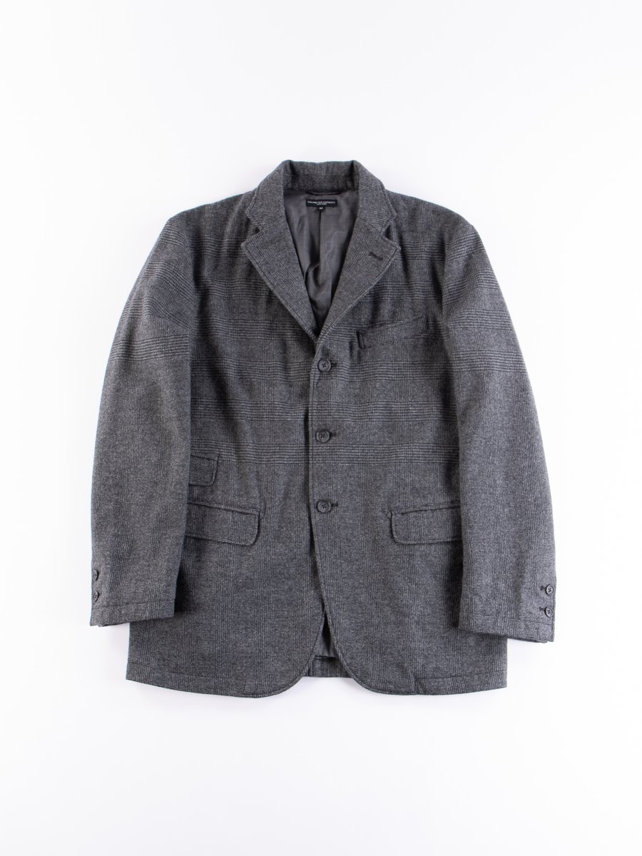 Grey Wool Glen Plaid Stripe Lawrence Jacket