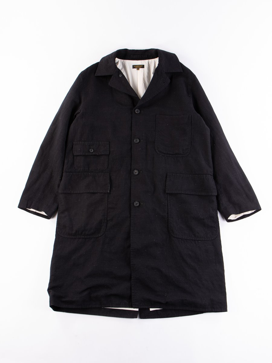 Black British Wool/Linen Atelier Long Coat