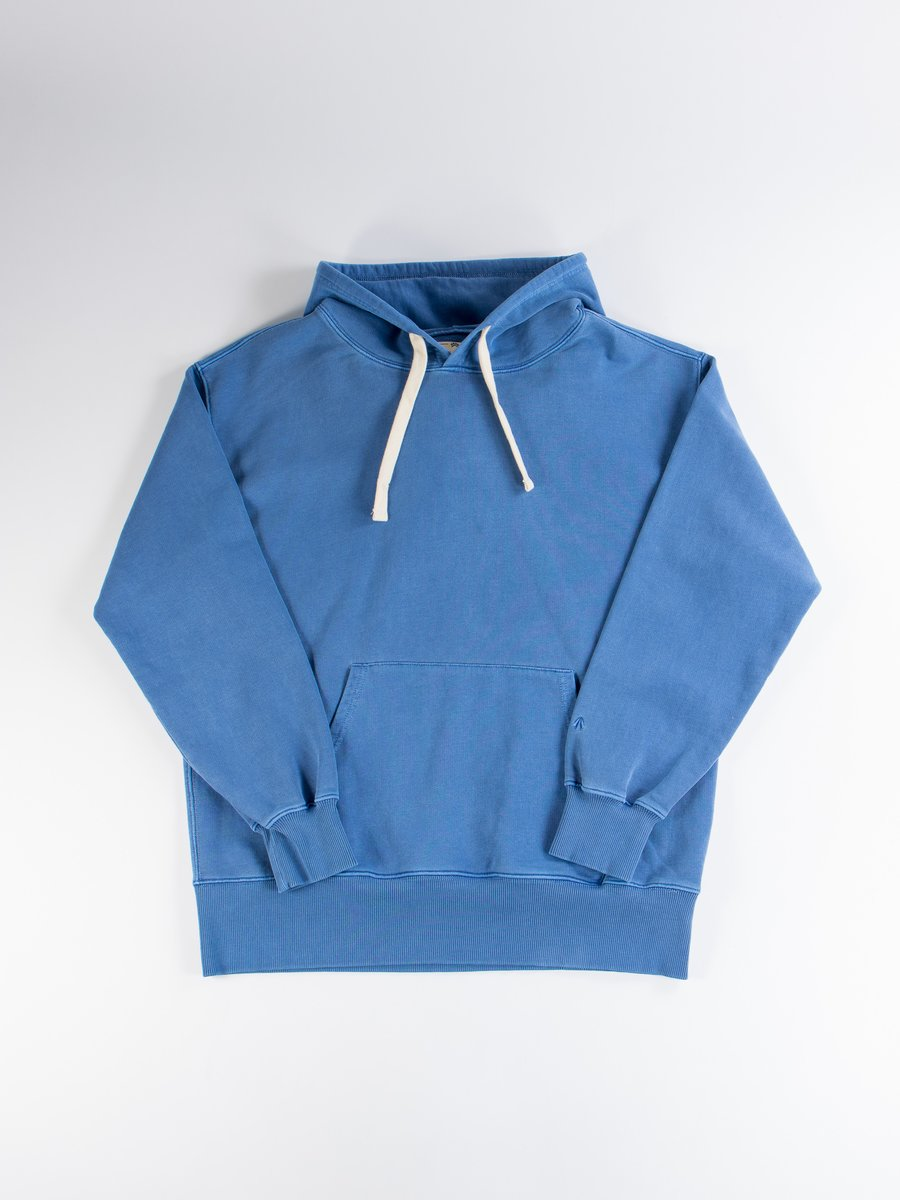 Washed Blue Embroidered Logo Crew Hoodie