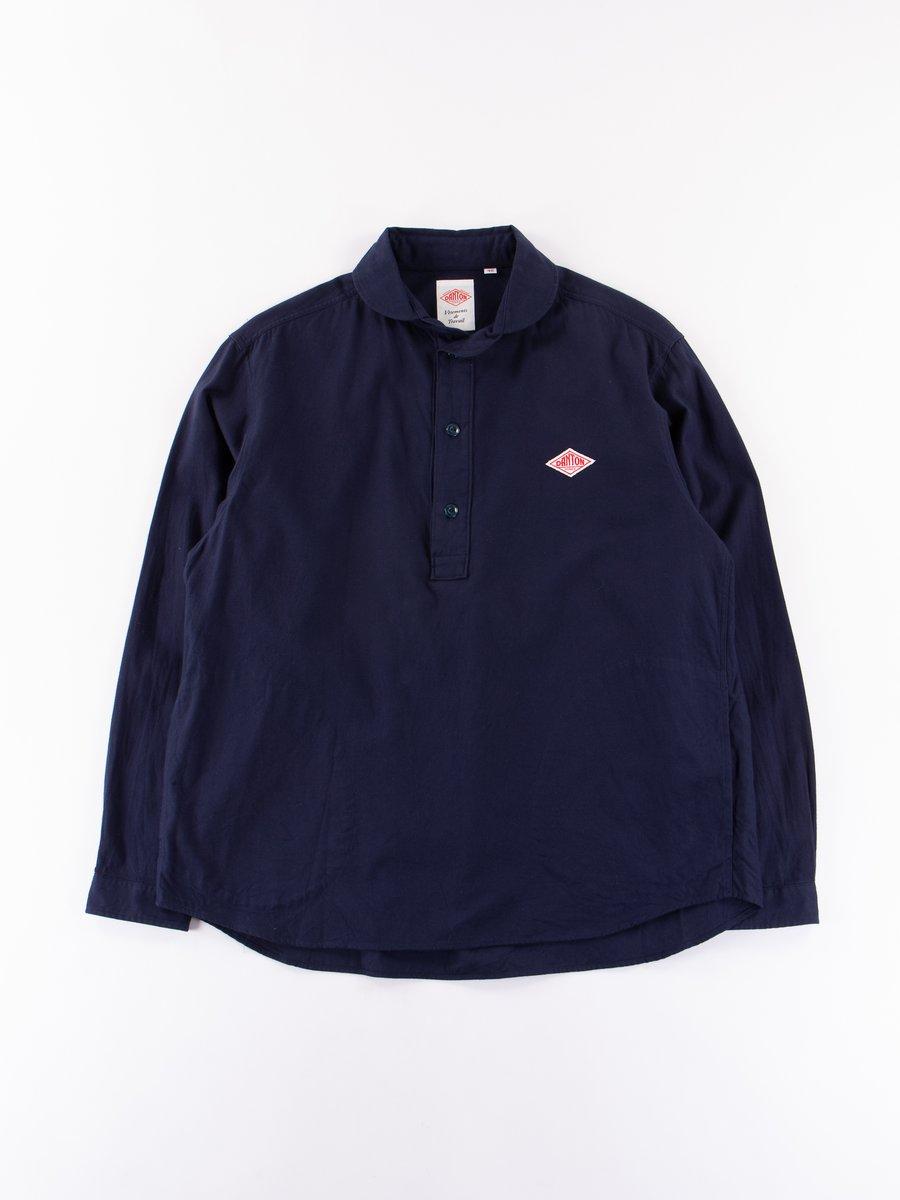 Navy Shawl Collar Pullover Shirt
