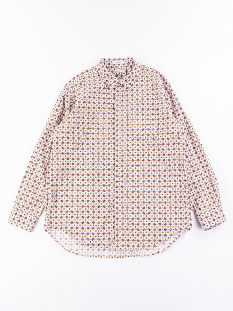 White Floral Foulard Print Short Collar Shirt