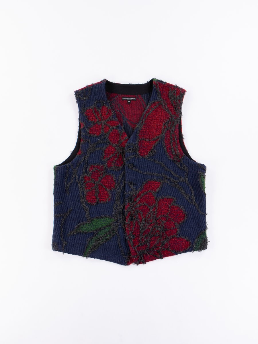 Navy/Red Acrylic Wool Floral Jacquard Knit Vest