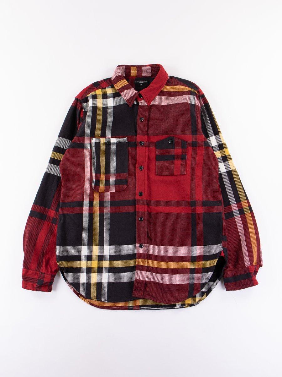 Black/Red/Yellow Heavy Twill Plaid Work Shirt