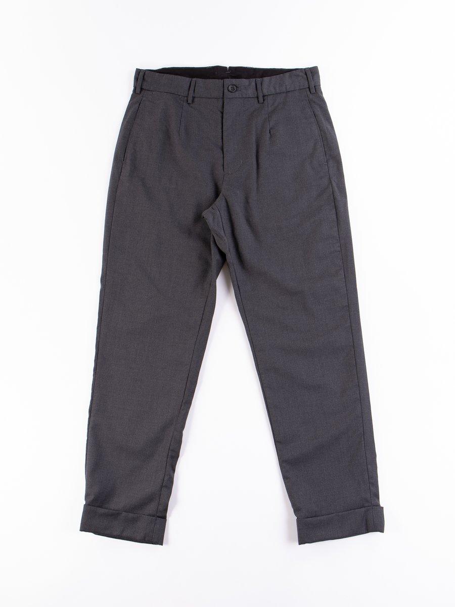 Charcoal Worsted Wool Gabardine Andover Pant
