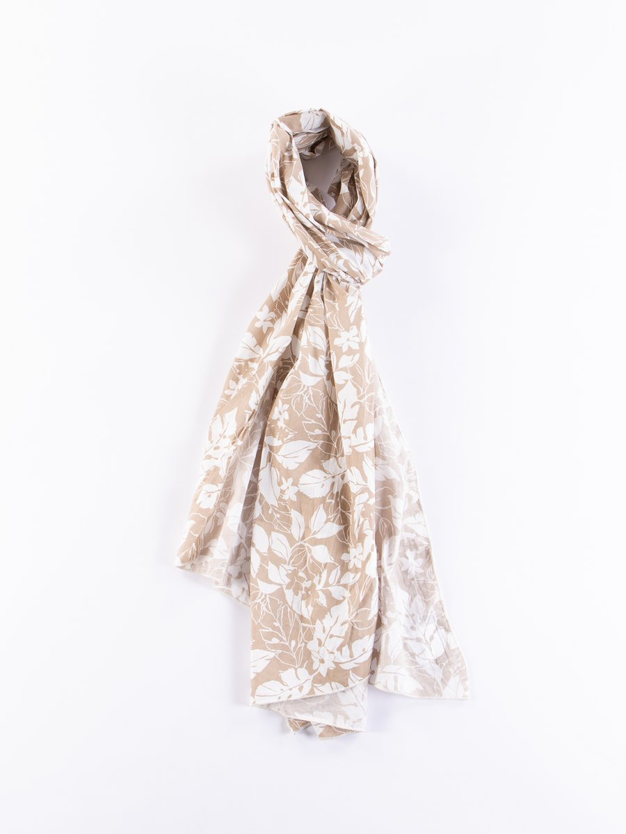 Beige/White Floral Printed Lawn Long Scarf