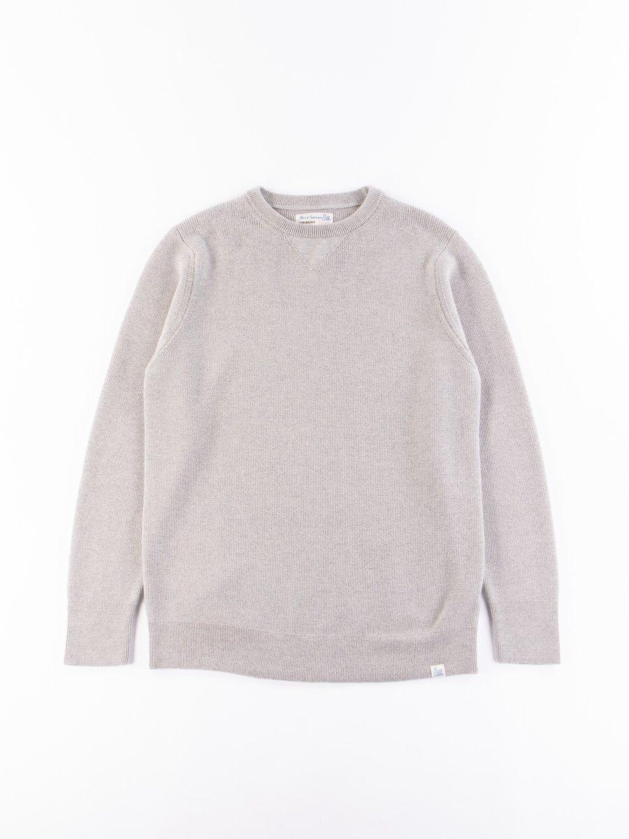 Grey Melange Good Basics Classic Wool Crewneck Pullover