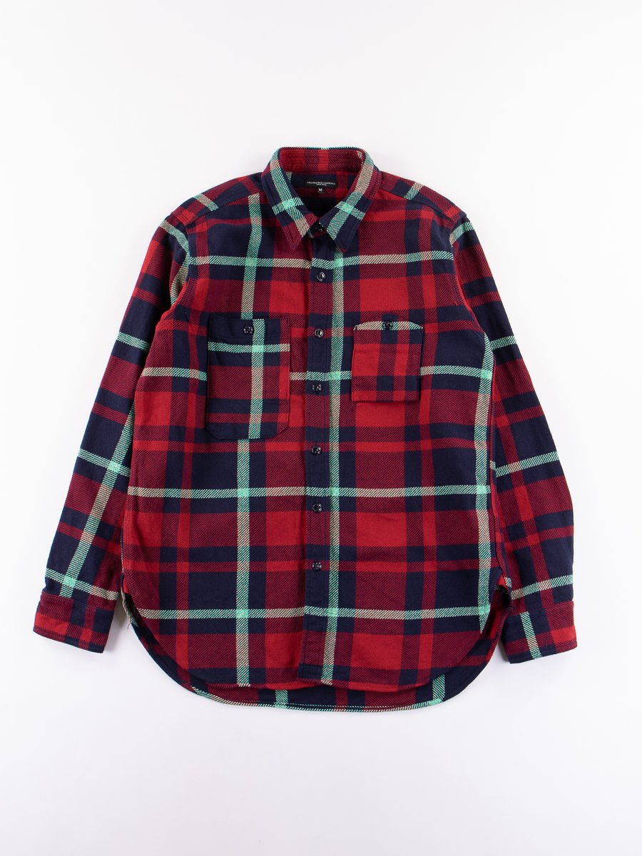Red/Navy/Teal Heavy Twill Plaid Work Shirt