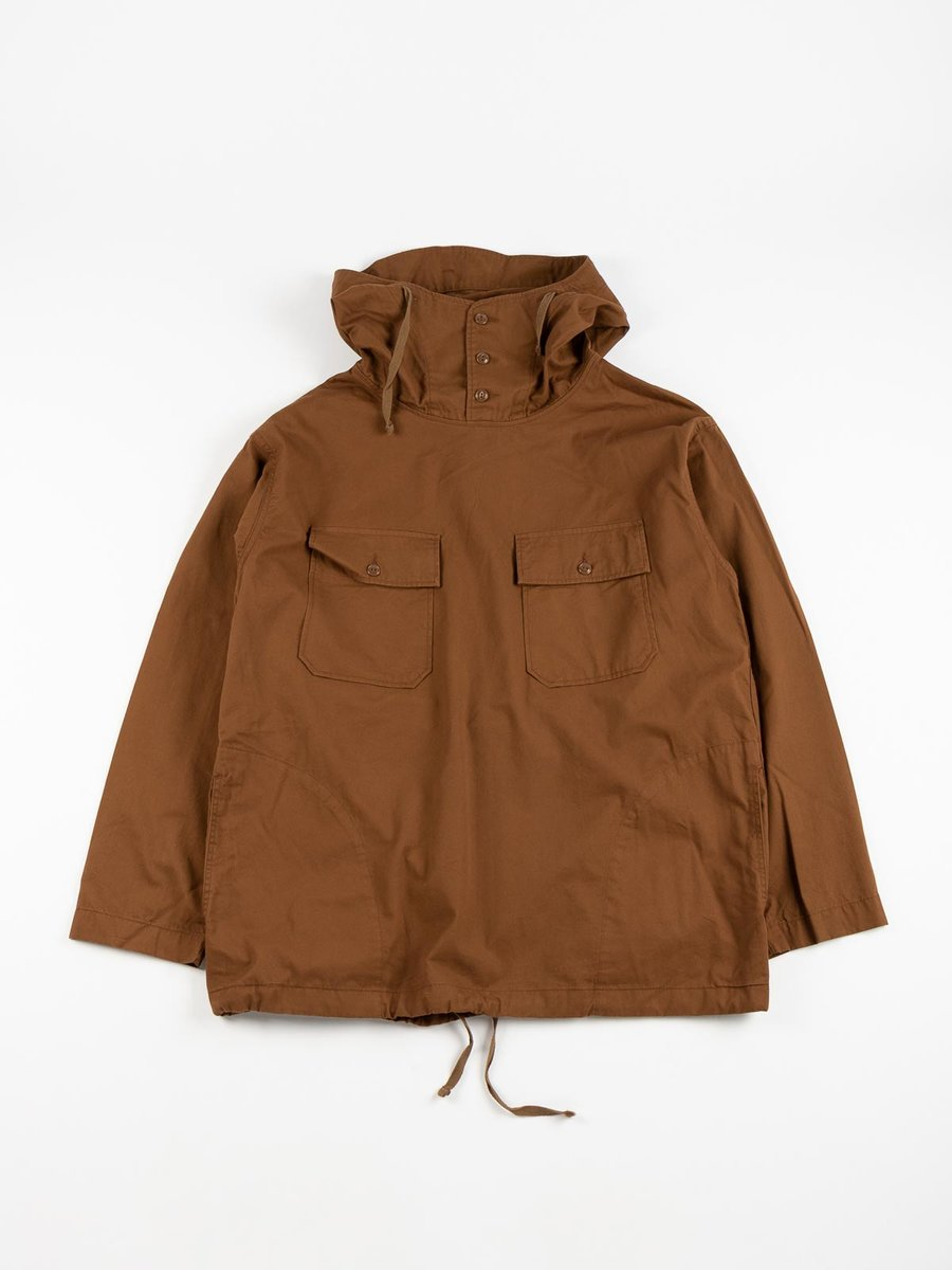 CAGOULE SHIRT BROWN COTTON MICRO SANDED TWILL