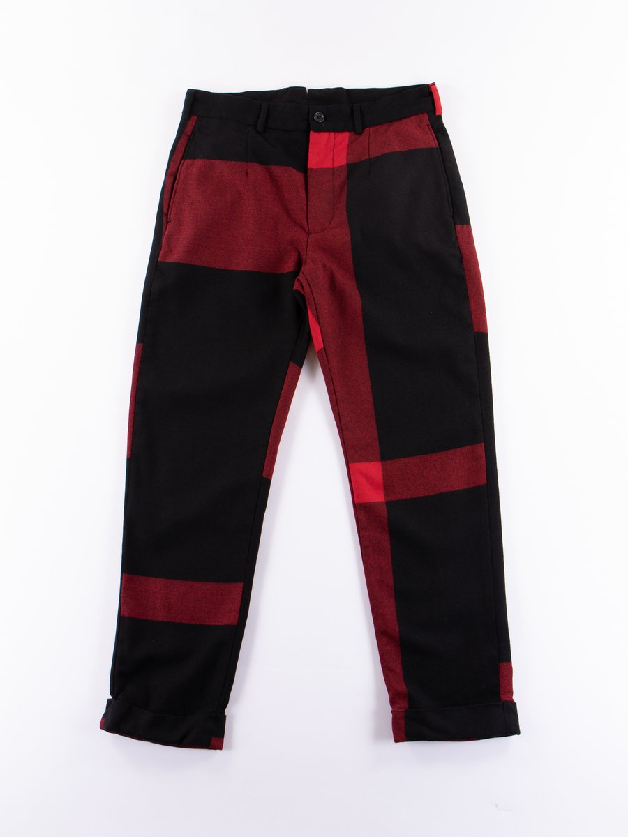 Black/Red Big Plaid Worsted Wool Flannel Andover Pant
