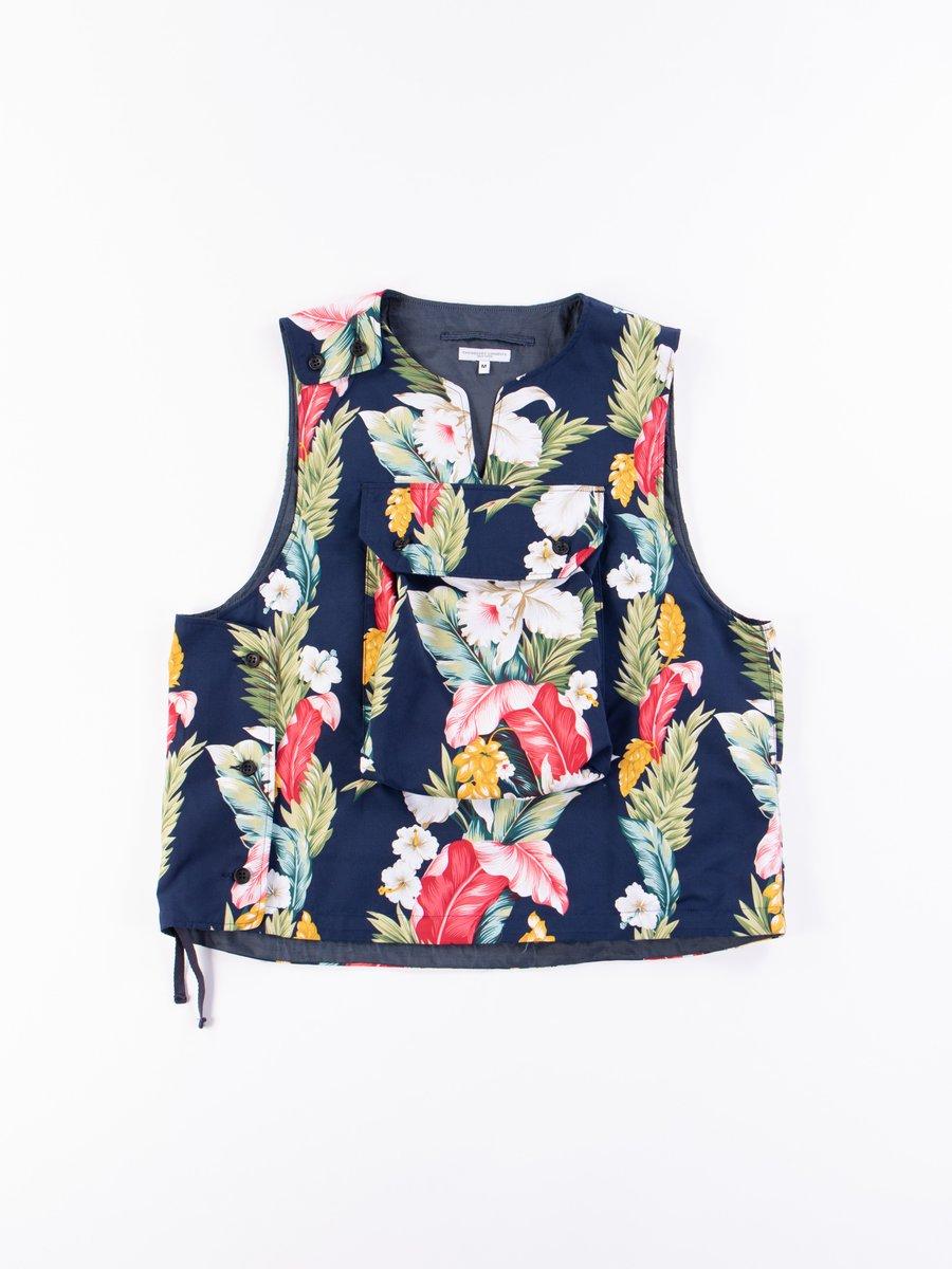 Navy Hawaiian Floral Microfiber Cover Vest
