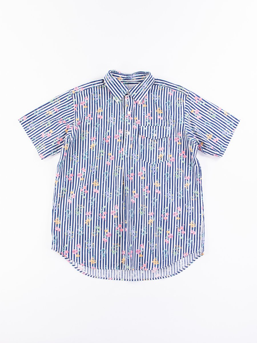 Navy Cotton Floral Stripe Print Popover BD Shirt