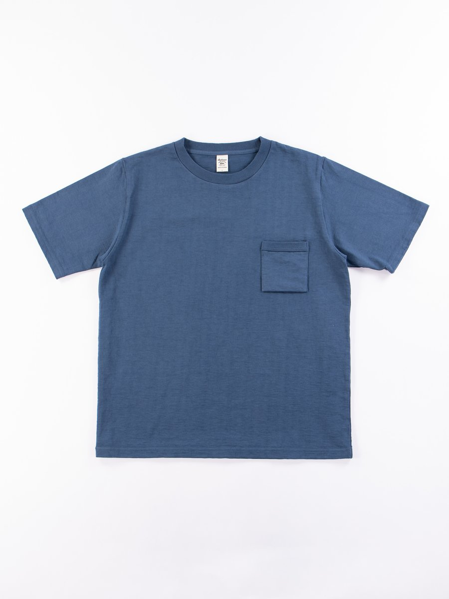 Ash Blue Dotsume Pocket T–Shirt
