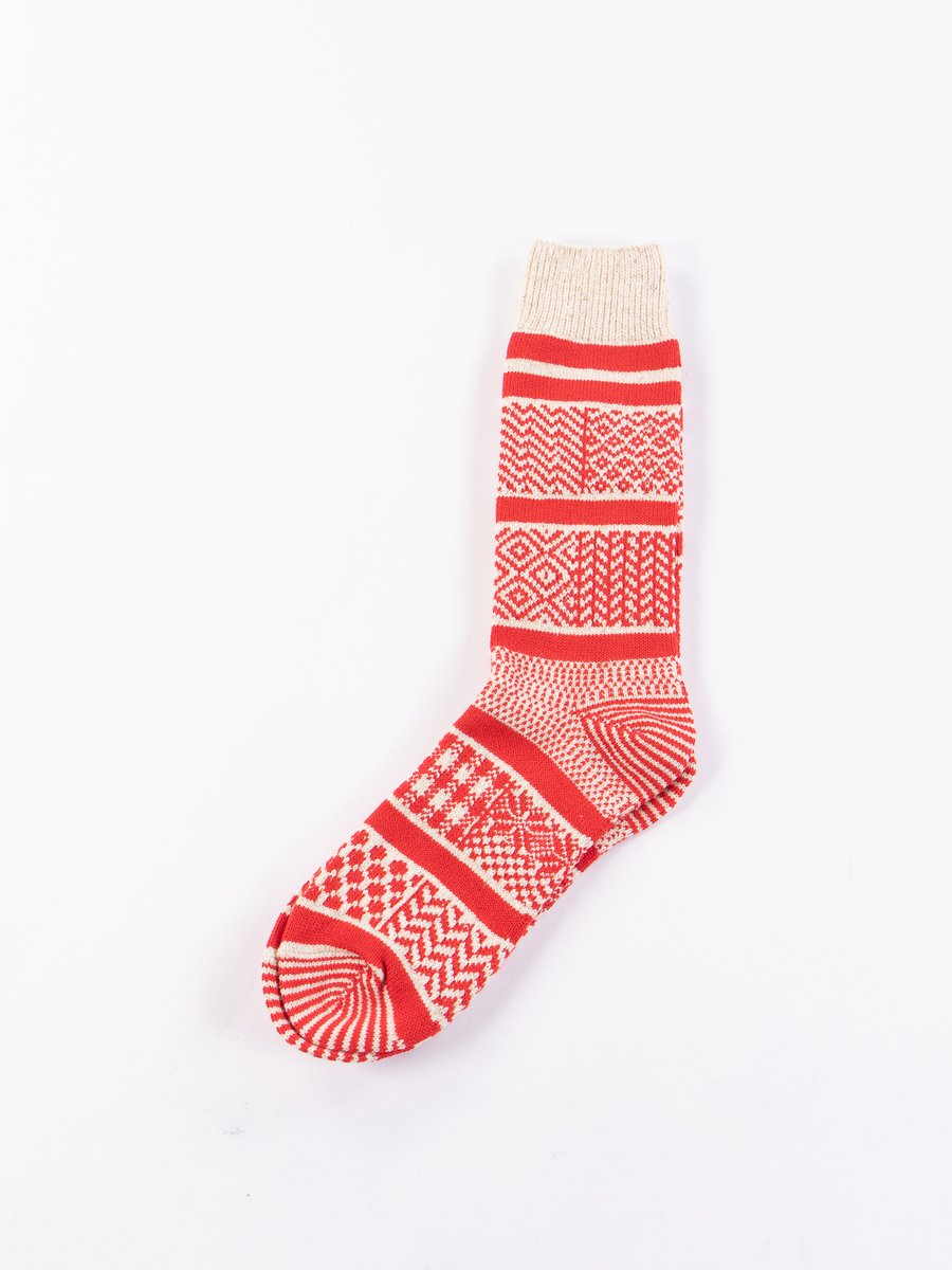 Ivory/Red Multi Jacquard Crew Socks