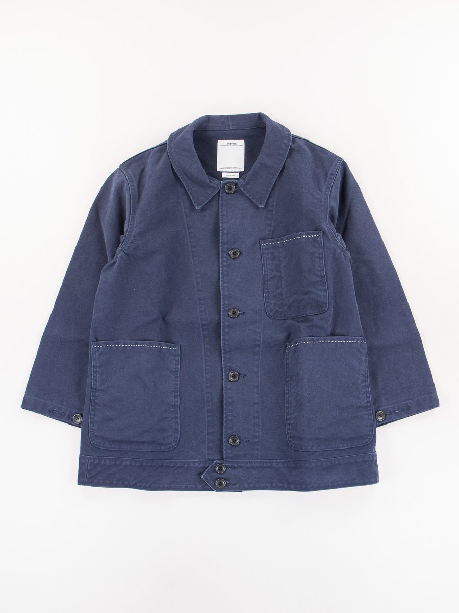 Navy Damaged Canvas Benny Jacket