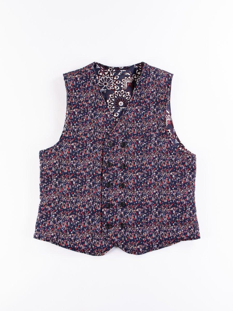 Navy Polyester Mini Floral Jacquard Reversible Vest