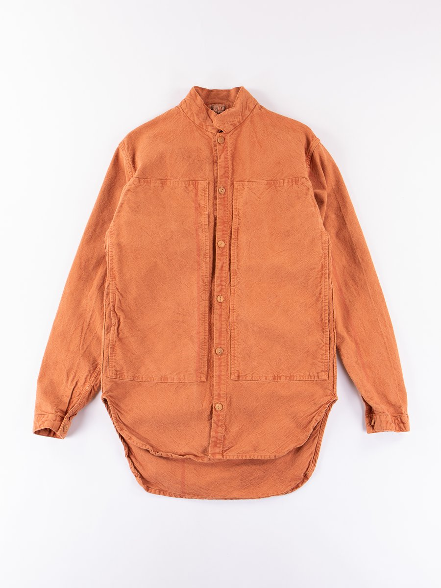 Red Ochre Dye Sump Cloth Periscope Pocket Tail Shirt