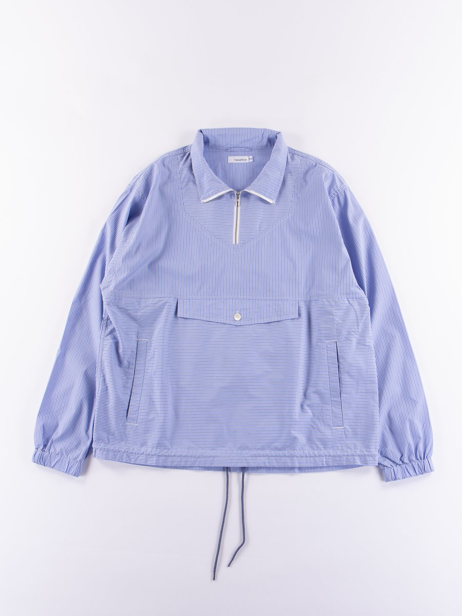 Blue Narrow Stripe Wind Pullover Shirt