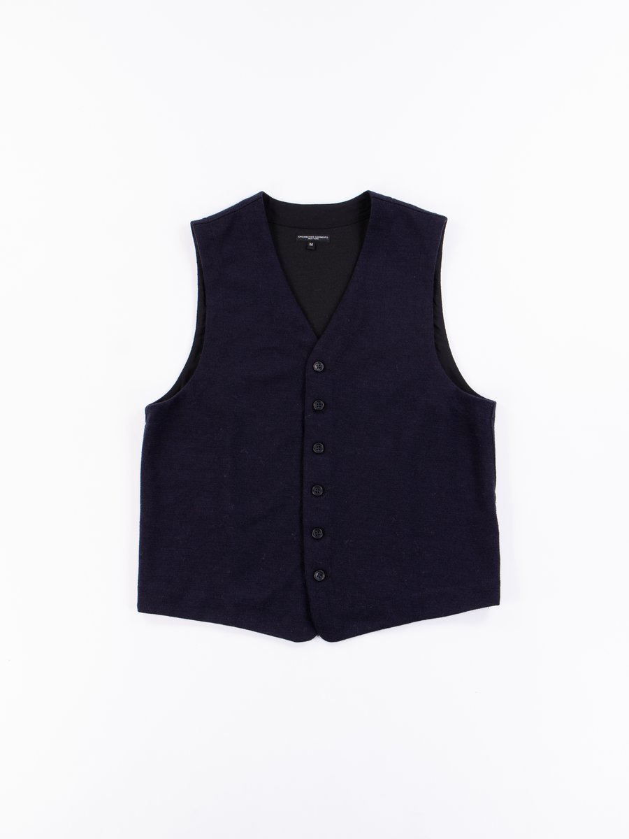 Dark Navy Poly Wool Jersey Knit Vest