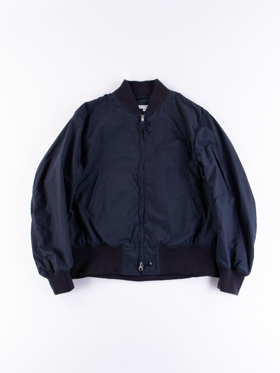 Navy Acrylic Coated Nylon Taffeta Aviator Jacket