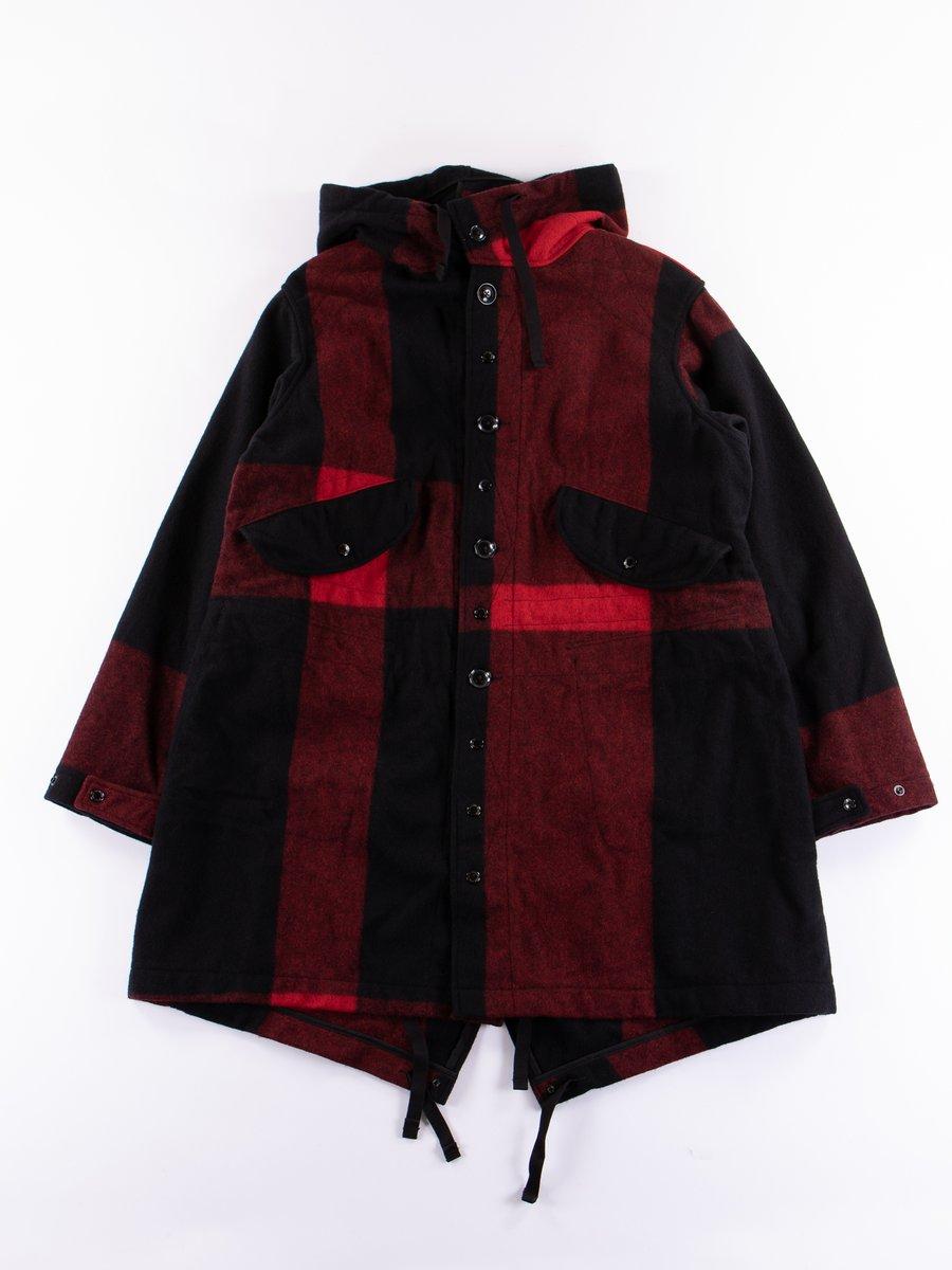 Black Big Plaid Wool Melton Highland Parka
